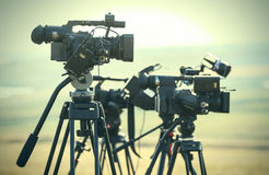 News LIVE transmission video cameras. Professional video cameras on tripods in LIVE transmission outdoor Royalty Free Stock Photography