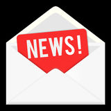 News. web icon, email communication. News icon isolated on white background. envelop, letter email, information and media Royalty Free Stock Images