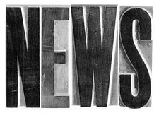 News Woodcut Type. The word NEWS is spelled out with wood-cut type Royalty Free Stock Photos