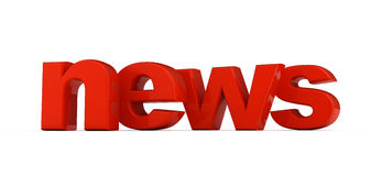 News word. News word of red three-dimensional letters Royalty Free Stock Image