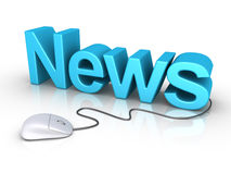 News word with computer mouse. 3d News word and a mouse is connected to it Stock Images
