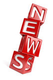 NEWS. The word NEWS created with dices on white background. Computer generated image with clipping path Royalty Free Stock Photography