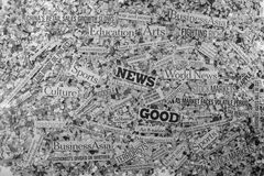 News. The word News made from newspaper confetti royalty free stock photos