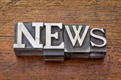 News word in metal type Royalty Free Stock Photography