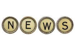 News word in typewriter keys Royalty Free Stock Photo