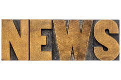 News word typography in letterpress wood type Royalty Free Stock Images
