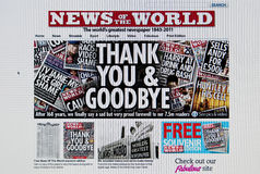 News of the World web site. LONDON - JULY 10: Last edition of the famous tabloid News of the World after the scandal of telephone hacking by the newspaper on Royalty Free Stock Image