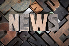 NEWS written with antique letterpress type Royalty Free Stock Photography