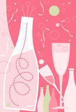 News Years – Light Pink Theme. New Years champagne and champagne glasses Royalty Free Stock Photography
