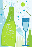 News Years - Blue Theme. New Years champagne and champagne glasses Stock Images
