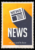 News on Yellow in Flat Design. Royalty Free Stock Photography
