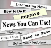 News You Can Use Newspaper Headline Articles Helpful Information. News You Can Use words in torn newspaper headlines for articles, information or reporting that royalty free illustration