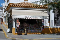 Newsagent shop, Barbate. Newspaper shop in the centre of town, Barbate, Costa de la Luz, Cadiz Province, Andalusia, Spain, Western Europe royalty free stock images