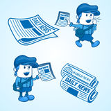 Newsboy. Illustration of a newsboy with the newspaper, the color was easy to change, also includes a large file of JPG Stock Photo