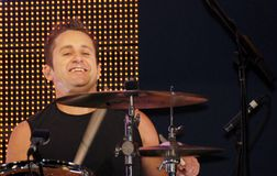 Newsboy's Duncan Phillips. Veteran Newsboy and Australia Duncan Phillips has fun on the drums Stock Images