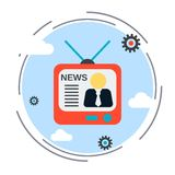 Newscast, information, broadcasting illustration Stock Photos