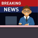 Newscaster with Computer, Breaking News. Vector Stock Photos