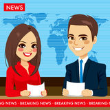 Newscasters Tv News Stock Images