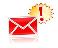 Newsletter. Red newsletter isolated over white with reflection Royalty Free Stock Image
