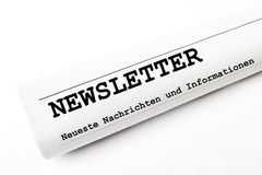 Newsletter. Newspaper on white background stock photos