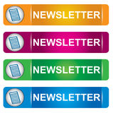 Newsletter banner set. With letter sign and text Stock Photo