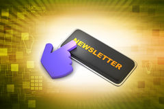 Newsletter button with mouse cursor Royalty Free Stock Photography