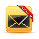 Newsletter Button Yellow Royalty Free Stock Photo