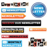Newsletter buttons. Set of newsletter buttons isolated on white background.EPS file available