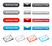 Newsletter buttons & icons. Set of newsletter website buttons and icons Stock Photography