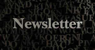 Newsletter - 3D übertrug metallische gesetzte Schlagzeilenillustration Stockfoto