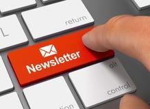 Newsletter, der Tastatur mit Illustration des Fingers 3d drückt Lizenzfreie Stockfotografie