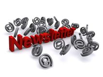 Newsletter design. A design with the word newsletter and @ signs for internet Royalty Free Stock Photography