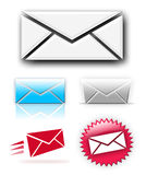 Newsletter/Email collection. A collection of various email or newsletter symbols isolated over white Stock Photos