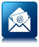 Newsletter email icon blue square button Stock Photo