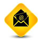Newsletter email icon elegant yellow diamond button. Newsletter email icon isolated on elegant yellow diamond button abstract illustration Stock Photo