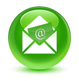 Newsletter email icon glassy green round button. Newsletter email icon isolated on glassy green round button abstract illustration Stock Photography