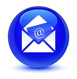 Newsletter email icon glassy blue round button. Newsletter email icon isolated on glassy blue round button abstract illustration Stock Photos