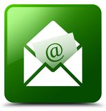 Newsletter email icon green square button. Newsletter email icon isolated on green square button abstract illustration Royalty Free Stock Photos
