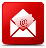 Newsletter email icon red square button Royalty Free Stock Photography