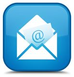 Newsletter email icon special cyan blue square button. Newsletter email icon isolated on special cyan blue square button abstract illustration Stock Photography