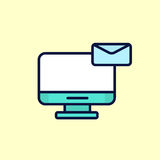 Newsletter email message  illustration of flat design letter with computer. Royalty Free Stock Photography