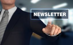 Newsletter   pushing concept 3d illustration. Newsletter      with finger pushing concept 3d illustration Royalty Free Stock Photography