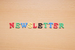 Newsletter in foam rubber letters Royalty Free Stock Photo