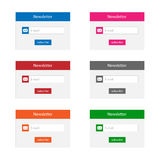 Newsletter forms. Collection of newsletter forms in various colors Stock Image