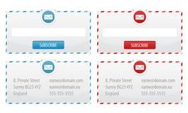 Newsletter-Formulare und Kontakt-Fahnen Stockbild