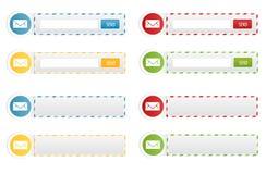 Newsletter-Formulare und Kontakt-Fahnen Stockbilder