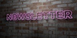 NEWSLETTER - Glühende Leuchtreklame auf Steinmetzarbeitwand - 3D übertrug freie Illustration der Abgabe auf Lager Lizenzfreie Stockfotografie