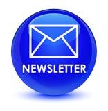 Newsletter glassy blue round button. Newsletter isolated on glassy blue round button abstract illustration Stock Photo