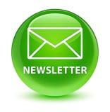 Newsletter glassy green round button. Newsletter  on glassy green round button abstract illustration Stock Photos