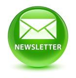 Newsletter glassy green round button. Newsletter isolated on glassy green round button abstract illustration Stock Photo